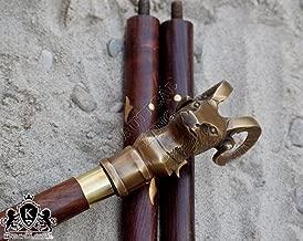 PIRU Vintage Accessories Mountain Goat Brass Head Handle Wooden Canes & Walking Stick