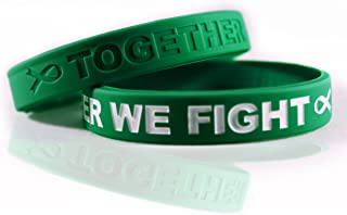 Cancer & Cause Awareness Bracelets with Saying Together We Fight, Gift for Patients, Survivors, Family and Friends, Set of 2 Ribbon Silicone Rubber Wristbands