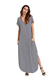 76861df00c Verdusa Women s V Neck Side Pockets Split Hem Beach Long Maxi Dress