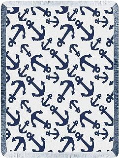 Kensington Row Coastal Collection Throws - Interlocking Anchors Throw Blanket - Navy - 48