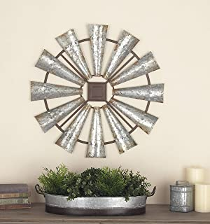 Deco 79 Indoor/Outdoor Large Brown & Silver Metal Windmill Fall Summer, Farmhouse Wall, Patio Decor, 30
