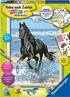 Pferd am Strand. Malen nach Zahlen Serie D Pferde: Mit Pferde Stickerbogen!