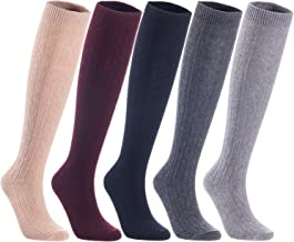 Lian LifeStyle Women's 6 Pairs Knee High Wool Socks HR158121 Size 6-9