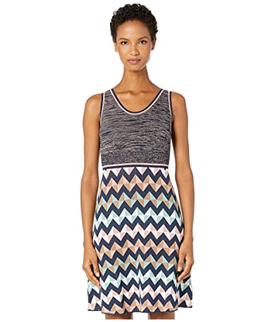 M Missoni Sleeveless Short Dress with Zigzag Space Dye (Pink/Navy) Women