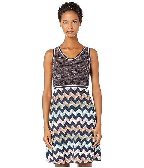 M Missoni Sleeveless Short Dress with Zigzag & Space Dye