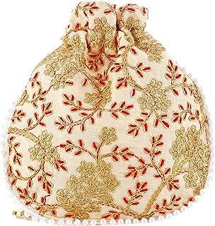 Heart Home Ethnic Clutch Silk Potli Batwa Pouch Bag with Beadwork Gift for Women (Cream) - CTHH13576