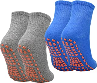 NATUCE, Calcetines Deporte 2 Pares Calcetines Antideslizantes para Hombre Mujer Algodón Transpirable Calcetines Deportivos para Pilates Yoga Fitness Gimnasia