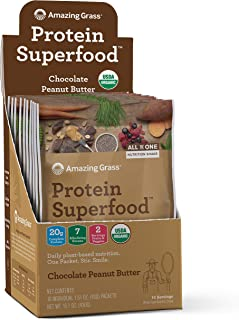 Amazing Grass Protein Superfood: Organic Vegan Protein Powder, Plant Based Meal Replacement Shake with 2 servings of Fruits and Veggies, Chocolate Peanut Butter Flavor, 10 Single Serve Packets