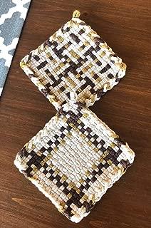 Handmade Loomed Cotton Potholder Pair