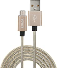 Micro USB Charge Sync Gold Data Cable Nylon Fiber Braided Rugged (3.3 Ft) by iURJA