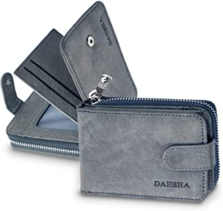 DAHSHA Imported 11 Slot Leather Credit Debit Zipper Card Holder with 3 ID Window for Men & Women - (12 x 3 x 8 cm) Grey