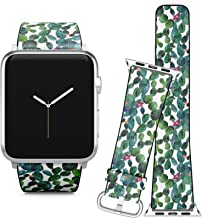Compatible with Apple Watch (38/40 mm) // Soft Leather Replacement Bracelet Strap Wristband + Adapters // Cactus Tropical Garden
