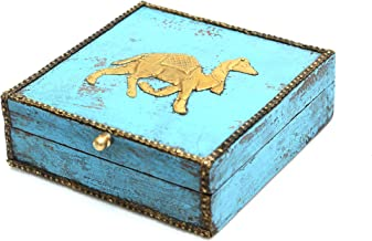 Intelligent Idiots Camel Wooden Storage Box, Vintage Design to Store Your Jewelry/Chocolates/Dry Ruts & More Attractively, (6.2 X 6.2 inch)