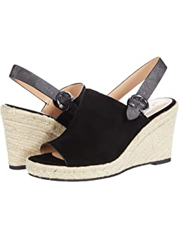코치 웻지 샌들 COACH Poppy Wedge,Black Suede