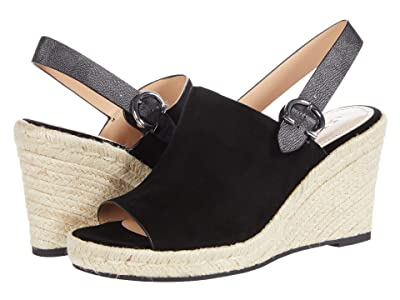 COACH Poppy Wedge (Black Suede) Women