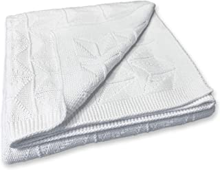 Zeke and Zoey Soft 100% Cotton Knit Baby Blanket (White)