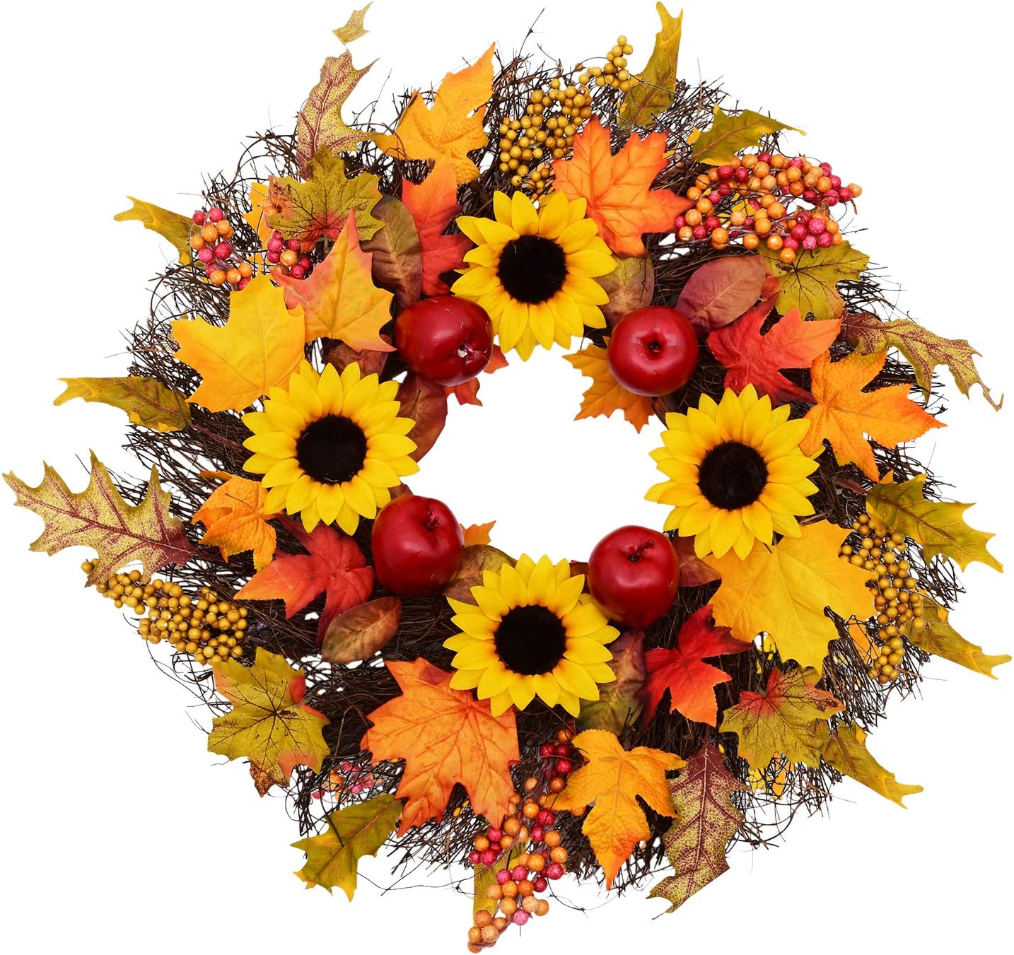 latest Fall Wreath with Maple Industry No. 1 Leaf Sunflower Doo and Berry Apple