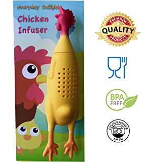 Everyday Delights Chicken Rooster Hen Silicone Infuser for Herbs or Loose Tea Leaf (Cooking Utensil, Kitchen Gadget) - Cute, Eco-friendly, Reusable, Durable