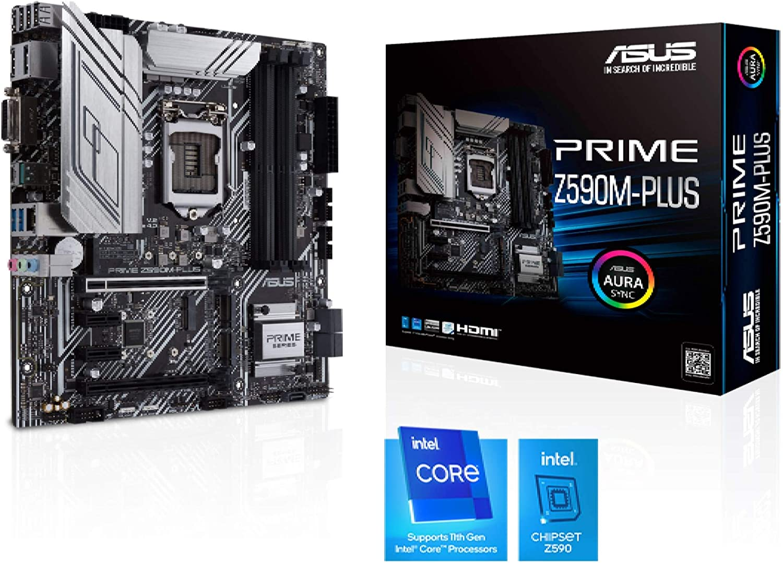 ASUS Prime Z590M-PLUS - Placa Base (Intel Z590, LGA 1200, m-ATX con VRM de 9 Fases, PCIe 4.0, DisplayPort, HDMI, DVI, Intel 1 GB Ethernet, USB 3.2 Gen. 2x2 Tipo C, Soporte Thunderbolt 4 y Aura Sync)