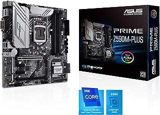 ASUS PRIME Z590M-PLUS, Scheda madre Intel Z590 micro ATX con PCIe 4.0, 9 fasi DrMOS, DisplayPort, HDMI, DVI, Intel 1 Gb La...