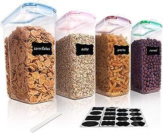 Vtopmart 4L Grands Boite de Conservation Alimentaire sans BPA pour Cuisine Pantry, Ensemble De 4 + 24 Étiquettes, pour Cér...