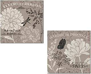 French Linen Garden | Beautiful Blooming Paris Flowers, Butterfly and Dragonfly Poster..