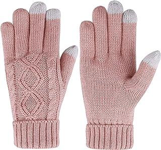 ThunderCloud Women's Cable Knit 3 Finger Touchscreen Sensitive Winter Mitten Gloves
