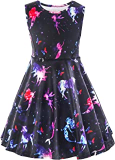Girl Unicorn Dress Little Mermaid Dress Christmas Printed Birthday Dress