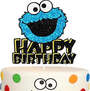 Happy Birthday Cookie Monster Cake Topper Blue Glitter Cartoon Party Decor Perfect for Baby Shower Child Birthday Party Supplies Decorations
