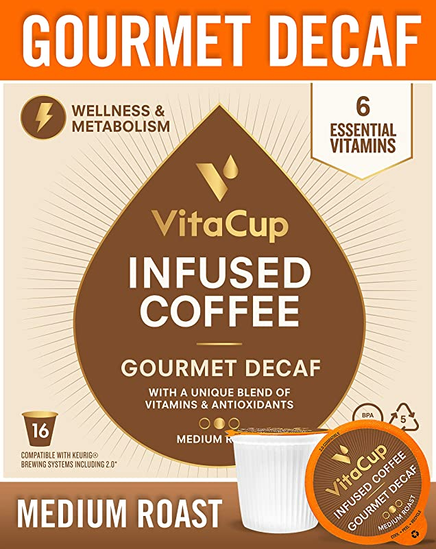 VitaCup Gourmet House DECAF Blend Coffee Pods 16ct Keto Paleo Whole30 Vitamins B1 B5 B6 B9 B12 D3 Compatible With K Cup Brewers Including Keurig 2 0 Medium Roast