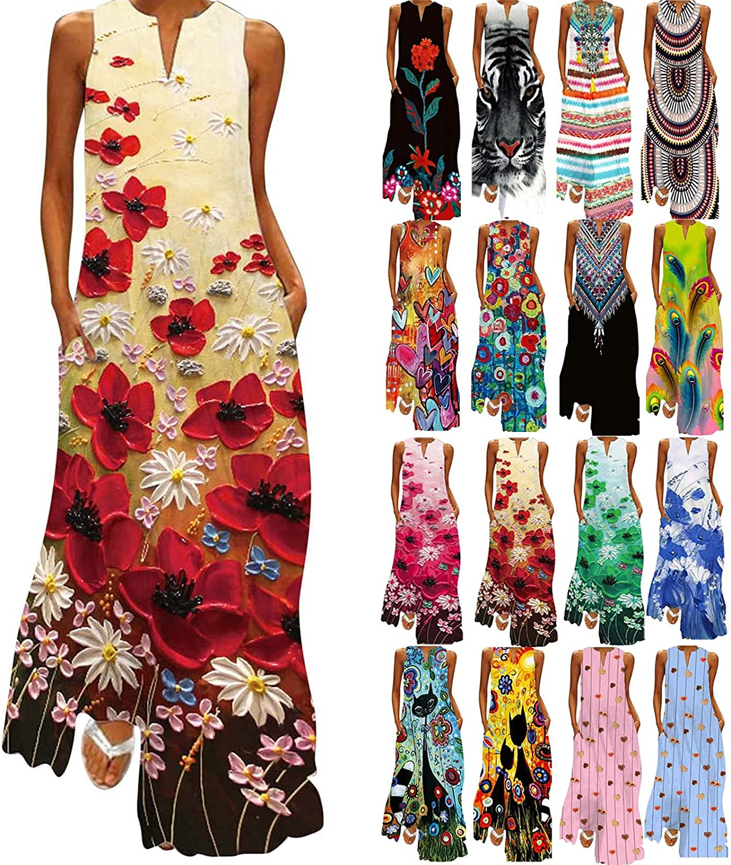 JUNLIN Women Sleeveless Strapless Maxi Dresses for Beach Vacation Polyester Bohemia Summer