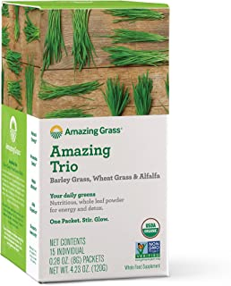 Amazing Grass Greens Trio: Greens Powder with Wheatgrass, Alfalfa, & Barley Grass, Rich Source of Chlorophyll, 15 Servings