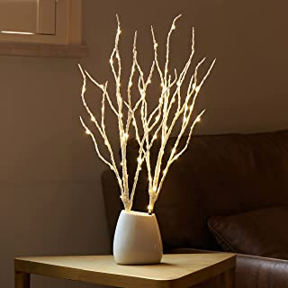 Birchlitland Lighted Birch Branches with Timer Battery Operated 18IN 70L Warm White LED Fairy Lights, Artificial Decorativ...