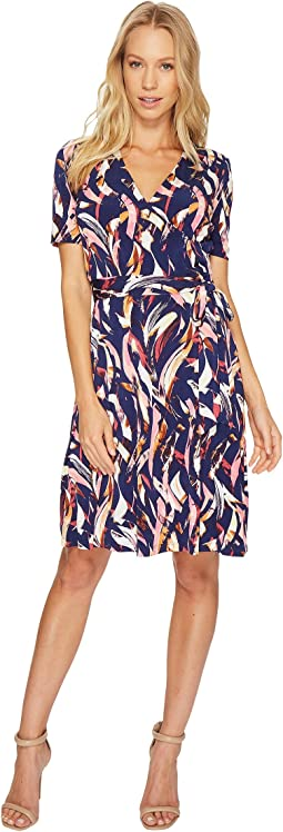 Printed Faux Wrap Dress with V-Neck and Tie at the Waist