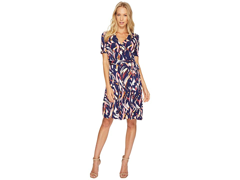 Ellen Tracy Printed Faux Wrap Dress with V-Neck and Tie at the Waist (Multi) Women