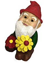 Classic Sculptural Garden Flower Loving Gnome Statue- (Handcrafted Home and Outdoor Garden Statue)