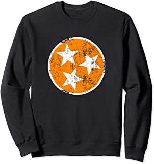 Tennessee Flag Sweatshirt Orange & White Distressed TN State
