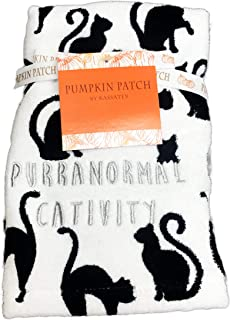 Pumpkin Patch Purranormal Cativity Spooky Black Cat Silhouettes Set of Two Festive Halloween Holiday Bathroom Hand Towel Set