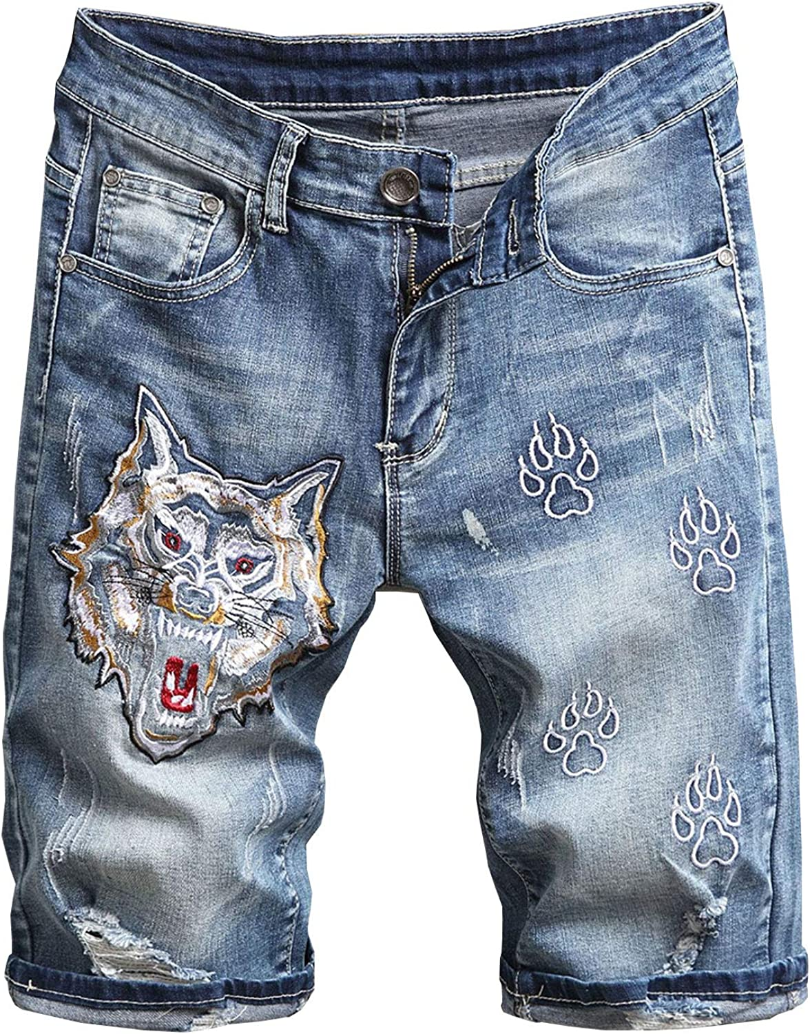 Aeneontrue Men's Denim Shorts Ripped Embroidered Casual Slim Jeans Short Pants for Summer Size28-40