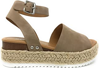 46ab693223630 Womens Casual Espadrilles Trim Rubber Sole Flatform Studded Wedge Buckle  Ankle Strap Open Toe Sandal
