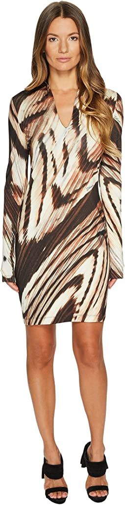 Just Cavalli - Distorted Dragon Fly Print Long Sleeve Jersey Dress