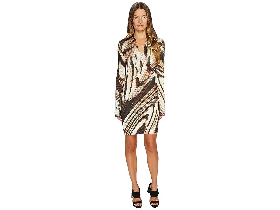 Just Cavalli Distorted Dragon Fly Print Long Sleeve Jersey Dress (Camel) Women