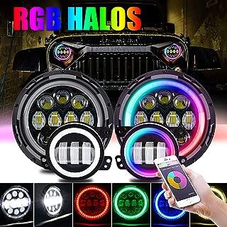 T-Former DOT Approved 7'' RGB LED Headlights and 4 '' LED Fog Lights Halo Ring for Jeep Wrangler 1997-2018 JKU JK Rubicon TJ LJ