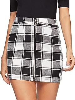WDIRA Women's Casual Mid Waist Above Knee O-Ring Zipper Front Plaid Skirt