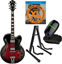Ibanez Artcore Series Hollow-Body Electric Guitar with Strings, Tuner & Stand (AF75, Transparent Red Sunburst)