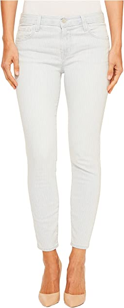 Mid-Rise Capris in Bleached Stripe