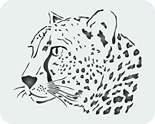 Cheetah Head Stencil - 8 x 6.5 inch (S) - Reusable African Big Cat Animal Wildlife Stencils for Painting - Use on Paper Projects Scrapbook Journal Walls Floors Fabric Furniture Glass Wood etc.