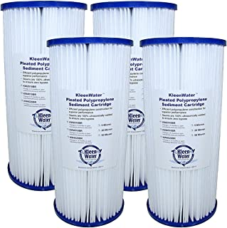 FXHSC, WHKF-WHPLBB, and ECP5-BB Compatible Water Filter Replacement Cartridges, 5 Micron KleenWater KW4510BR 4.5 x 10 Inch Filters, Qty(4)
