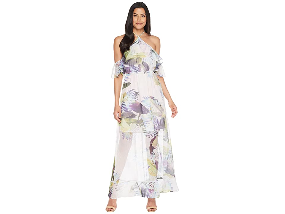 CeCe Danielle Cold Shoulder Tropical Maxi (Pink Lotus) Women