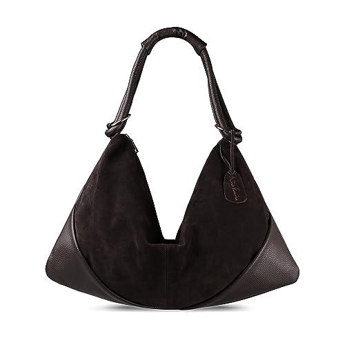 06b79fb5a3 Nico Louise Suede Leather Hobo Bag Top Handle Women Dumpling Bag Large  Handbag